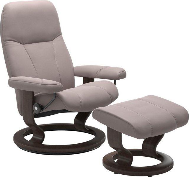 Stressless® Relaxsessel »Consul« (Set), mit Hocker, mit Classic Base, Größe M, Gestell Wenge | Wohnzimmer > Sessel > Relaxsessel | Rosa | Stressless®