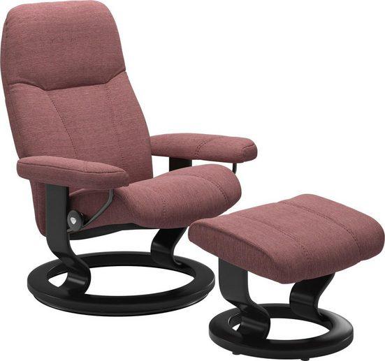Stressless® Relaxsessel »Consul« (Set, Relaxsessel mit Hocker), mit Hocker, mit Classic Base, Größe S, Gestell Schwarz