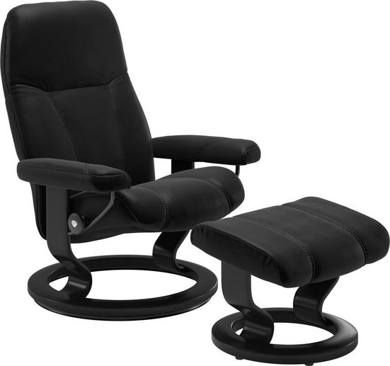 Stressless® Relaxsessel »Consul« (Set, Relaxsessel mit Hocker), mit Hocker, mit Classic Base, Größe M, Gestell Schwarz