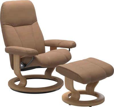 Stressless® Relaxsessel »Consul« (Set, Relaxsessel mit Hocker), mit Hocker, mit Classic Base, Größe L, Gestell Eiche