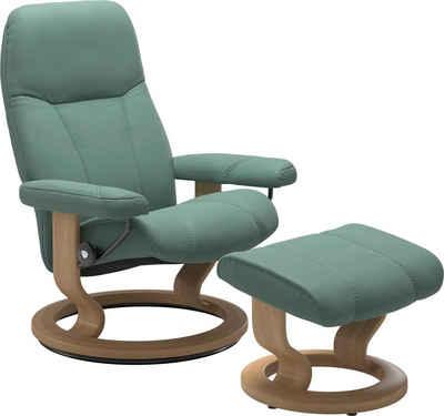 Stressless® Relaxsessel »Consul« (Set, Relaxsessel mit Hocker), mit Hocker, mit Classic Base, Größe M, Gestell Eiche