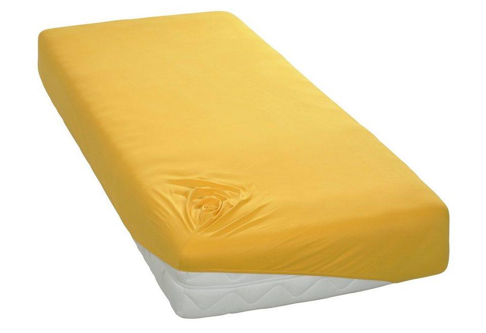 Spannbettlaken, my home, »Microfaser-Interlock«, in super elastischer Qualität in goldfarben