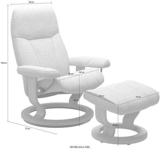 Stressless® Relaxsessel »Consul« (Set), mit Hocker, mit Classic Base, Größe L, Gestell Whitewash