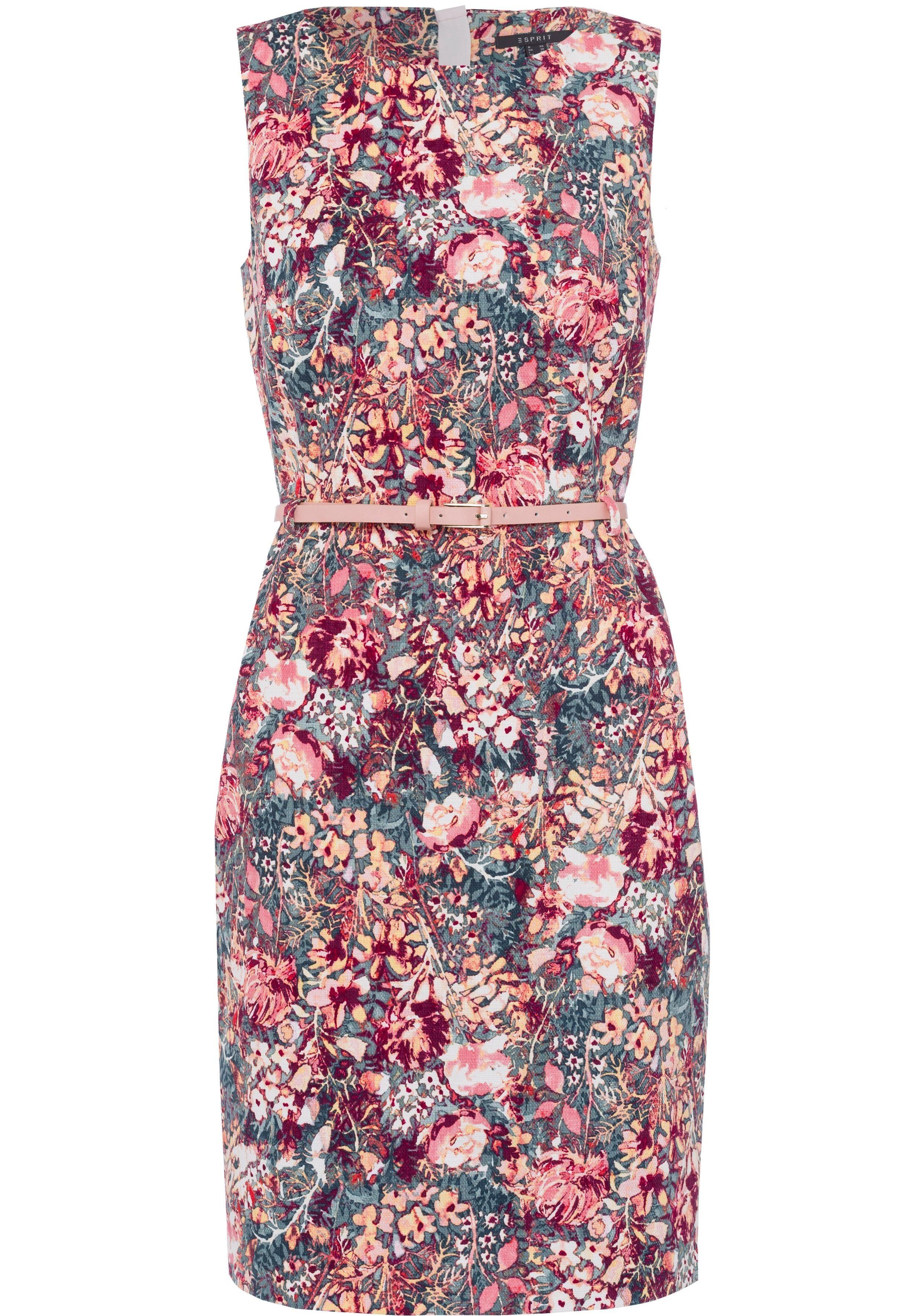 Esprit Collection Sommerkleid (mit abnehmbarem Gürtel) mit aufregendem Druckmuster und passendem Gürtel