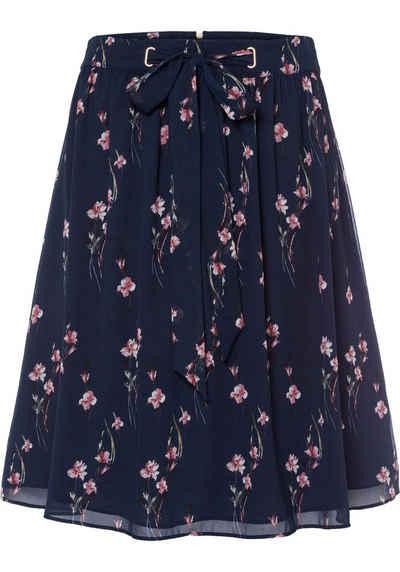 51ea5dde653 Esprit Collection A-Linien-Rock mit dekorativen Bindebändern und floralem  Muster