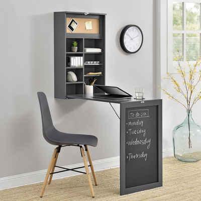 en.casa Wandregaltisch, Ausklappbarer Schreibtisch [Dunkelgrau] - Mit Regal, Pinnwand & Tafel