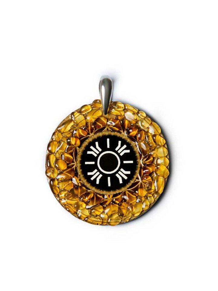 Adelia´s Amulett »925 Silber Bernstein Talisman« Sonne - Licht Glück und Erfüllung   Schmuck > Halsketten > Amulette   Gelb   Adelia´s