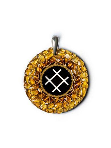 Adelia´s Amulett »925 Silber Bernstein Talisman« Rose - Liebe Schönheit und Wohlergehen