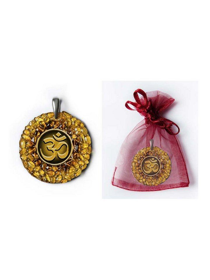 Adelia´s Amulett »925 Silber Bernstein Talisman« Om - Intuition und Aufmerksamkeit   Schmuck > Halsketten > Amulette   Gelb   Adelia´s
