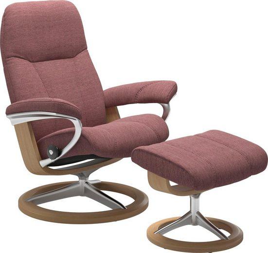 Stressless® Relaxsessel »Consul« (Set, Relaxsessel mit Hocker), mit Hocker, mit Signature Base, Größe L, Gestell Eiche