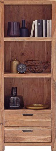 MCA living Bücherregal »Willow«, 1-tlg., Massivholz Regalschrank Vintage in Akazie Natur lackiert, Artikel montiert