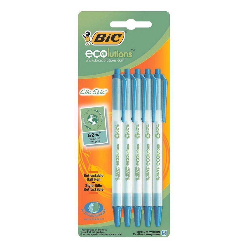 BIC 5er-Pack Kugelschreiber »Ecolutions Clic Stic«