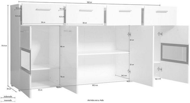 TRENDMANUFAKTUR Sideboard »Sarahmix«| Breite 182 cm | Wohnzimmer > Schränke > Sideboards | TRENDMANUFAKTUR