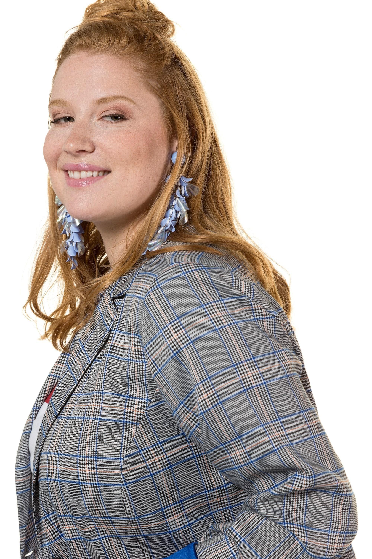 Studio Untold Langjacke bis 54 Blazer mit Karo Futter in knalligem Blau Reversform mit Knopfverschluss Langarm
