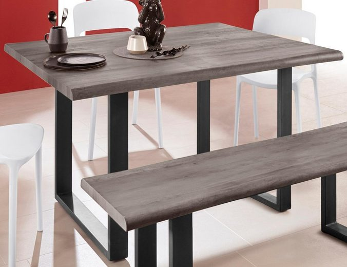 INOSIGN Baumkantentisch »Selina« mit schönem Metallgestell und folierte Holzoptik auf der Tischplatte