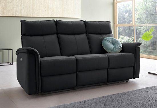 Places of Style 3-Sitzer »Zola«, mit hohen Sitzkomfort durch elektrische Relaxfunktion, USB-Anschluss, Breite 197 cm