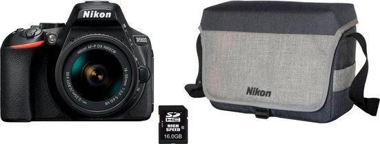 Nikon »D5600 Kit AF-P 18-55mm VR« Spiegelreflexkamera (AF-P DX NIKKOR 18–55 mm 1:3,5–5,6G VR, 24,2 MP, Bluetooth, WLAN (Wi-Fi), inkl. Tasche + 16GB GB Speicherkarte)