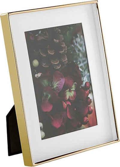 Fink Bilderrahmen »KIM, goldfarben«, (1 Stück), Fotorahmen, aus Metall, mit Passepartout, für Bildformate 13x18 cm und 20x25 cm, Wohnzimmer