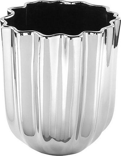 Fink Übertopf »TULIP, silberfarben« (1 Stück), dekorativer Blumentopf, handgefertigt, aus Keramik, glänzend, verschiedene Durchmesser erhältlich, Vase, Wohnzimmer