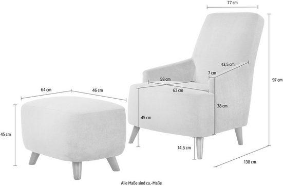 Home affaire Polstergarnitur »Slope«  Set aus Sessel und Hocker