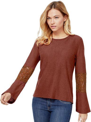 création L Shirt mit leicht transparenter Spitze an den Ärmeln