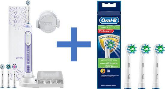Oral B Elektrische Zahnbürste Genius 10000N, Aufsteckbürsten: 4 St., inkl. 3er Pack Aufsteckbürsten CrossAction mit Bakterienschutz