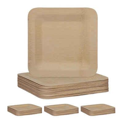 relaxdays Einwegteller »100 x Bambus Teller eckig 23 cm«