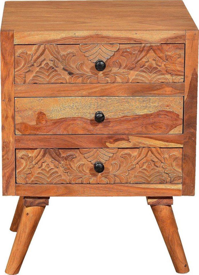 SIT Nachttisch »Carved« mit schönen Schnitzereien   Schlafzimmer > Nachttische   Metall   SIT