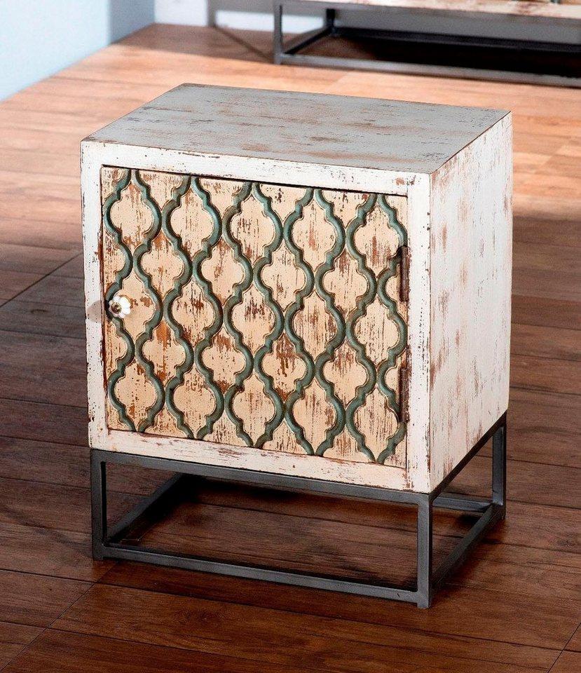 SIT Nachttisch »Mahal«, Mangoholz mit Metall 45   Schlafzimmer > Nachttische   Weiß   Porzellan   SIT