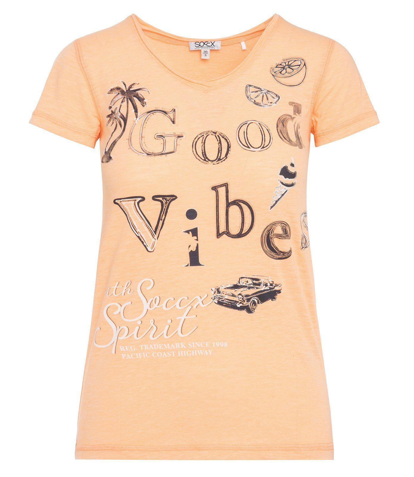 SOCCX T-Shirt mit Overlocknähten