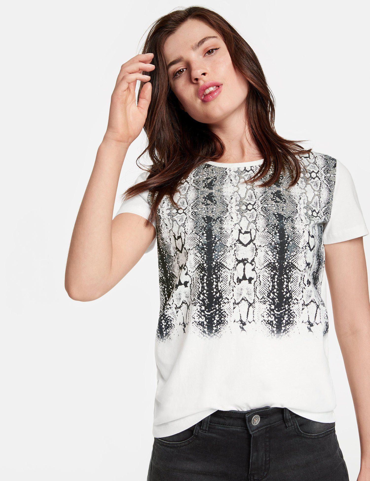 TAIFUN T-Shirt Kurzarm Rundhals »Baumwoll-Shirt mit Snake-Print«