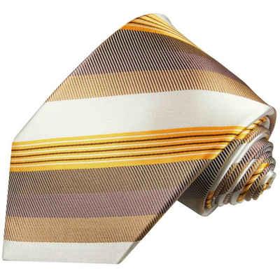 Paul Malone Krawatte »Designer Seidenkrawatte Herren Schlips modern gestreift 100% Seide« Schmal (6cm), gold braun 637
