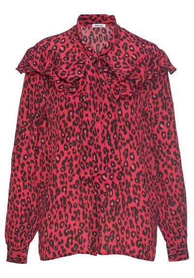 c832a89fc5ced5 Replay Schluppenbluse im trendigen Leoparden-Design