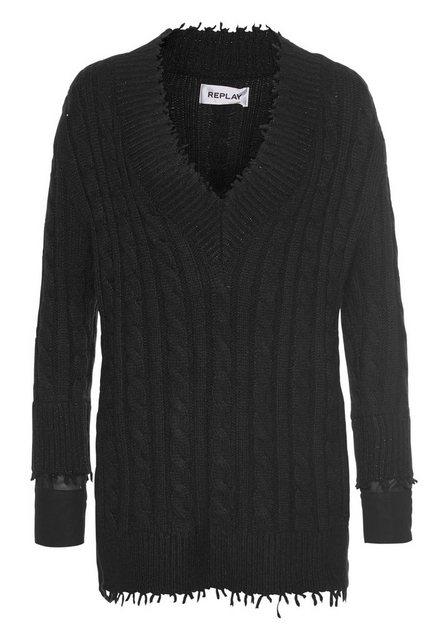 Replay 2-in-1-Pullover mit modischem Blusen-Einsatz   Bekleidung > Pullover > 2-in-1 Pullover   Replay