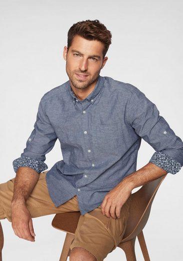 Esprit Hemd mit integriertem Knopfriegel zum Ärmel hochkrempeln