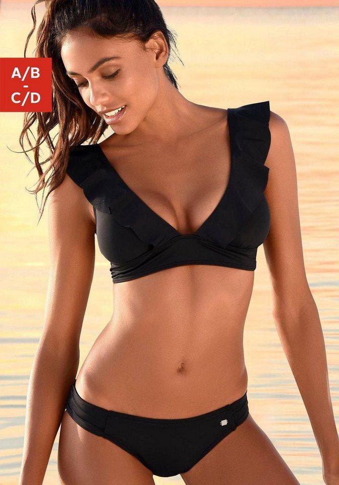Bademode - JETTE Triangel Bikini mit Volant › schwarz  - Onlineshop OTTO