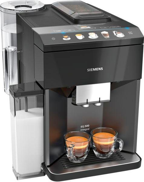 SIEMENS Kaffeevollautomat EQ.5 500 integral TQ505D09, einfache Bedienung, integrierter Milchbehälter, zwei Tassen gleichzeitig