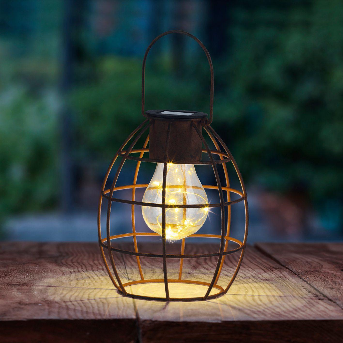 LED Solarlampe Edelstahl Mosaik Optik 37 cm Gartenlampe Solarleuchte neu