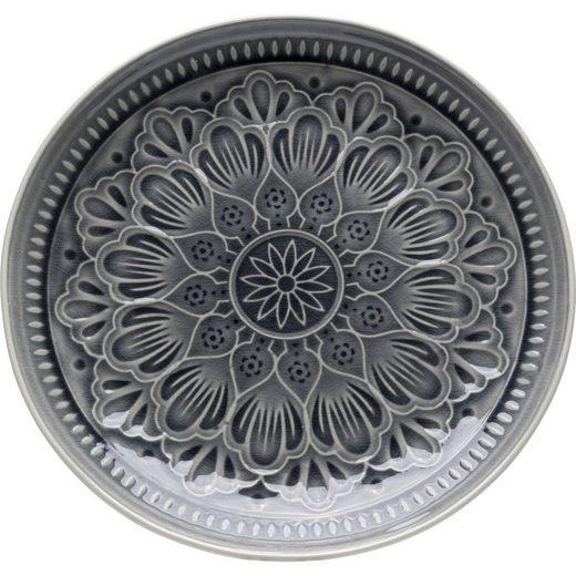 KARE Speiseteller »Teller Sicilia Mandala Grau 27«