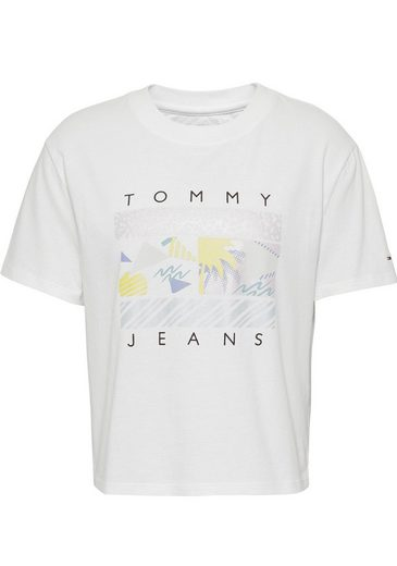 TOMMY JEANS T-Shirt »TJW SUMMER SURF FLAG TEE« mit metalicfarbenen Beach-Print