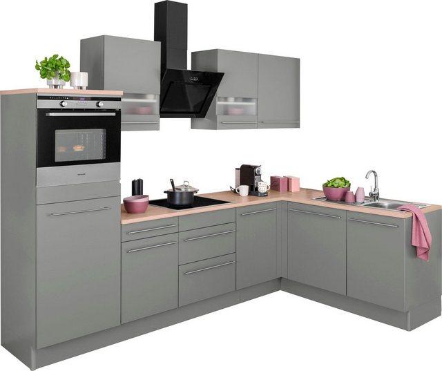 Einbauküchen - OPTIFIT Winkelküche »Bern«, mit Hanseatic E Geräten, Stellbreite 285 x 175 cm, mit Induktionskochfeld, gedämpfte Türen und Schubkästen, höhenverstellbare Füße, Metallgriffe  - Onlineshop OTTO