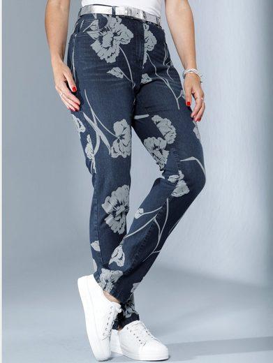 MIAMODA Jeans mit kontrasfarbenem Blumendruck