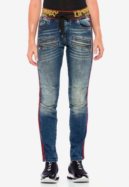 Hosen - Cipo Baxx Bequeme Jeans mit roten Seitenstreifen in Straight Fit ›  - Onlineshop OTTO