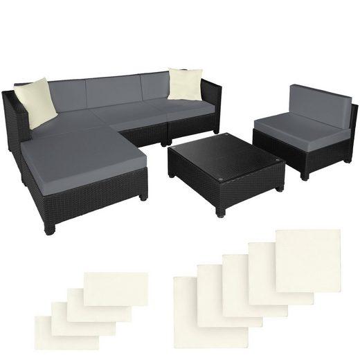 tectake Loungeset »Rattan Lounge mit Aluminiumgestell inkl. Bezüge in«, (6-tlg)