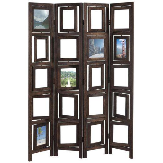 MCW Paravent »Bildgalerie II«, Fenster mit je zwei Plexiglasplatten, 4 Paneele, Mit drehbaren Fotofenstern
