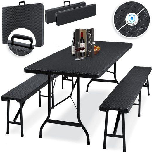 KESSER Bierzeltgarnitur, 3-teilig Set Tisch + 2 x Bank für drinnen und draußen klappbar Tragegriffe HxBxT: 73x180x75 cm Kunststoff Rattan-Look Gartengarnitur Klapptisch Gartentisch