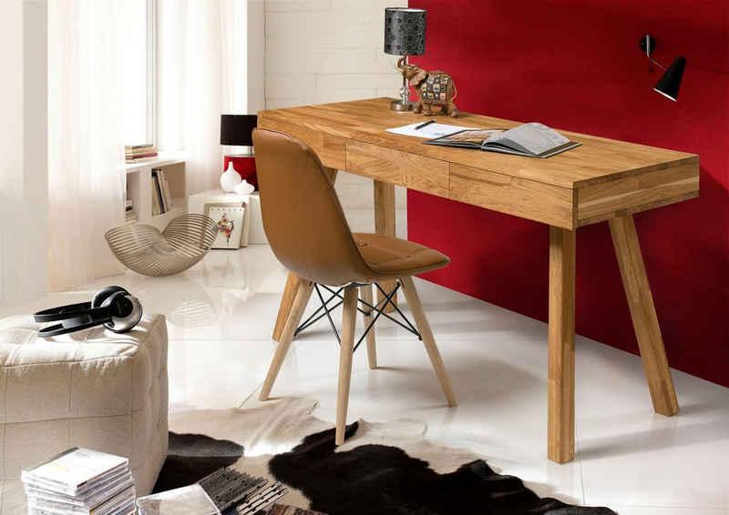 andas Schreibtisch »Modern«, aus schönem massivem Eichenholz, 3 Schubladen, rechteckige Tischform