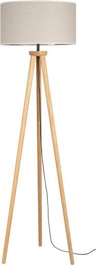 OTTO products Stehlampe »EMMO«, Dreibein aus Kiefernholz, Naturprodukt mit FSC®-Zertifikat, hochwertiger Textilschirm, mit Schnurschalter An/Aus, geeignet für LM E27 - exklusive, Made in Europe