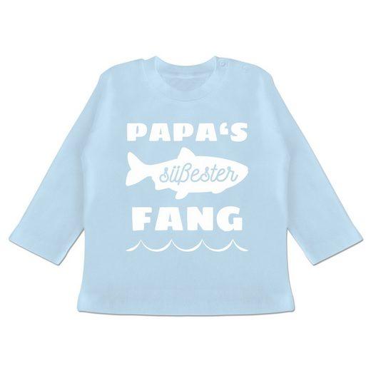 Shirtracer T-Shirt »Papas süßester Fang - Sprüche Baby - Baby T-Shirt langarm - T-Shirts« baby angler