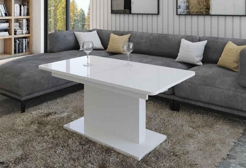 designimpex Couchtisch »Design Couchtisch Tisch DC-1 Weiß Hochglanz stufenlos höhenverstellbar ausziehbar Esstisch«